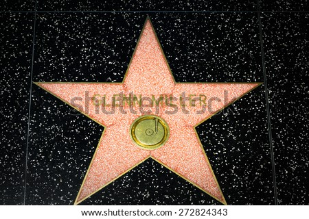 HOLLYWOOD, CA/USA - APRIL 18, 2015: Glenn Miller star on the Hollywood Walk of Fame. The Hollywood Walk of Fame is made up of brass stars embedded in the sidewalks on Hollywood Blvd. - stock photo