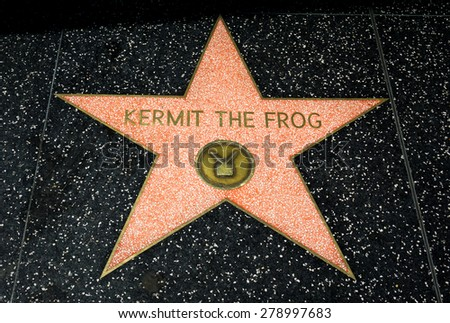 HOLLYWOOD, CA/USA - APRIL 18, 2015: Kermit the Frog star on the Hollywood walk of fame. - stock photo