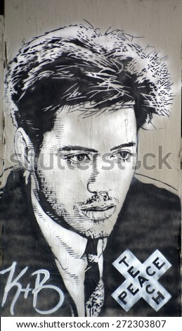 HOLLYWOOD CA USA APRIL 13 2015: Robert Downey Jr. mural by Jerry Ragg. Robert John Downey Jr. (born April 4, 1965) is an American actor, producer, and singer. - stock photo