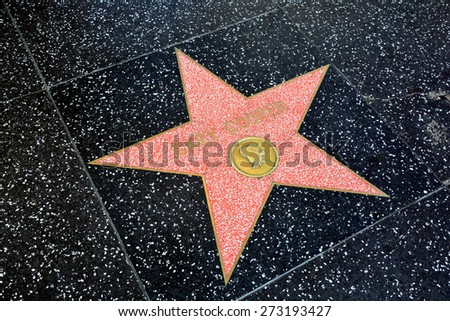 HOLLYWOOD CA USA APRIL 13 2015: Walk of fame star Gary Cooper (born Frank James Cooper was an American film actor known for his natural, authentic, and understated acting style and screen performances - stock photo