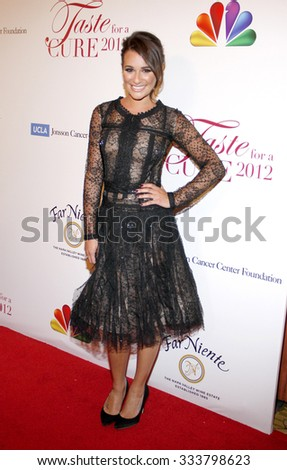HOLLYWOOD, CALIFORNIA - April 20, 2012. Lea Michele at the 17th Annual Taste For A Cure Gala held at the Beverly Wilshire Four Seasons Hotel, Los Angeles. - stock photo