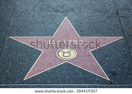 HOLLYWOOD, CALIFORNIA - February 8 2015: Jay Leno's Hollywood Walk of Fame star on February 8, 2015 in Hollywood, CA. - stock photo