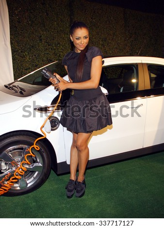 HOLLYWOOD, CALIFORNIA - February 22, 2012. Kat Graham at the Global Green USA's 9th Annual Pre-Oscar Party held at the Avalon Hollywood, Los Angeles. - stock photo