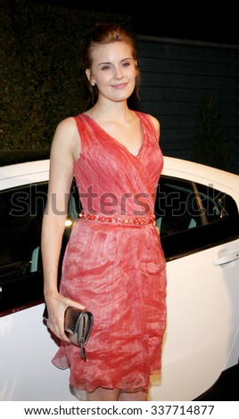 HOLLYWOOD, CALIFORNIA - February 22, 2012. Maggie Grace at the Global Green USA's 9th Annual Pre-Oscar Party held at the Avalon Hollywood, Los Angeles. - stock photo