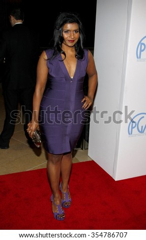 HOLLYWOOD, CALIFORNIA - January 22, 2010. Mindy Kaling at the 22nd Annual Producers Guild Awards held at the Beverly Hilton hotel, Los Angeles.   - stock photo