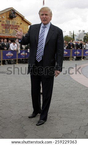 HOLLYWOOD, CALIFORNIA. March 10, 2006. Donald Trump kicks off the sixth season casting call search for THE APPRENTICE held at the Universal Studios in Hollywood, California United States.  - stock photo