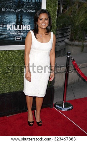 HOLLYWOOD, CALIFORNIA - March 26, 2012. Veena Sud at the Los Angeles Season 2 premiere of AMC's 'The Killing' held at the ArcLight Cinemas in Hollywood. - stock photo
