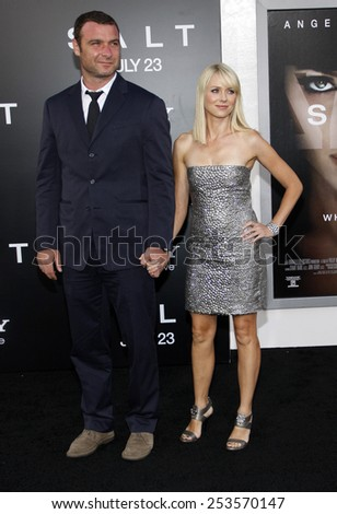 "HOLLYWOOD, CALIFORNIA - Monday July 19, 2010. Liev Schreiber and Naomi Watts at the Los Angeles premiere of ""Salt"" held at the Grauman's Chinese Theater, Los Angeles.  - stock photo"