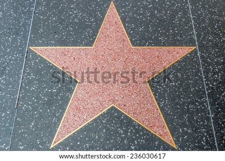 HOLLYWOOD, CALIFORNIA - NOV 10 2014: Blank star on the Hollywood Walk of Fame along Hollywood Blvd in downtown Hollywood, California. - stock photo