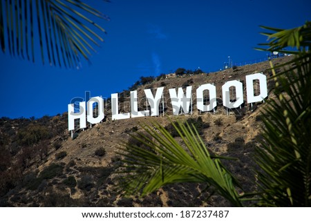 HOLLYWOOD - CALIFORNIA 2014: The Hollywood sign, built in 1923, is shown as Hollywood gets ready to host the 2014 Academy Awards. Photo taken on February 5, 2014 in Hollywood, California.  - stock photo