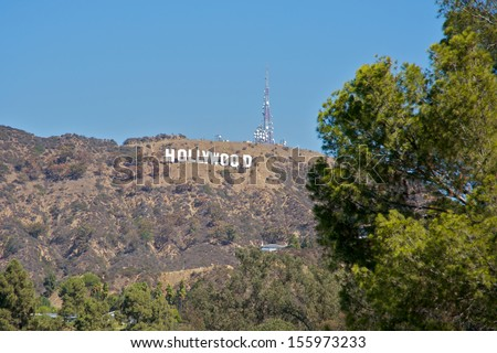 HOLLYWOOD - CALIFORNIA 26: The Hollywood Sign in Hollywood, California, built in 1923, just a few days after the celebration of the 2013 Emmys, on September 26, 2013.  - stock photo