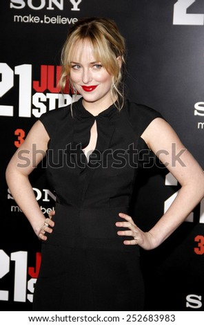 "HOLLYWOOD, CALIFORNIA - Tuesday March 13, 2012. Dakota Johnson at the Los Angeles premiere of ""21 Jump Street"" held at the Grauman's Chinese Theater, Los Angeles. - stock photo"