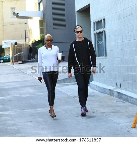 HOLLYWOOD - FEBRUARY 12, 2014: Fitz and the Tantrums band members, Michael Fitzpatrick and Noelle Scaggs head to the Jimmy Kimmel concert stage, February 12, 2014. - stock photo
