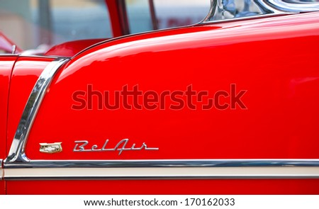 Hollywood, Floria USA-January 5, 2014:  Chevrolet logo or symbol from a vintage Chevy Bel Air car. Produced by General Motors. - stock photo