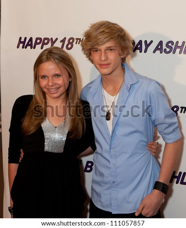 HOLLYWOOD - JAN 29: Alli Simpson (L) & Cody SImpson (R)  attends Ashley Argota 18th Birthday at the W Hotel Hollywood, January 29, 2011, in Hollywood, CA - stock photo