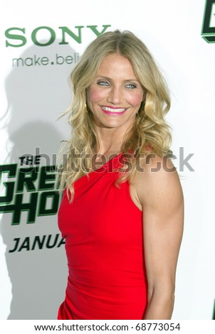 "HOLLYWOOD - JAN. 10:  Cameron Diaz arrives at the ""The Green Hornet"" premiere at Grauman's Chinese Theatre on Jan. 10, 2011 in Hollywood, CA. - stock photo"