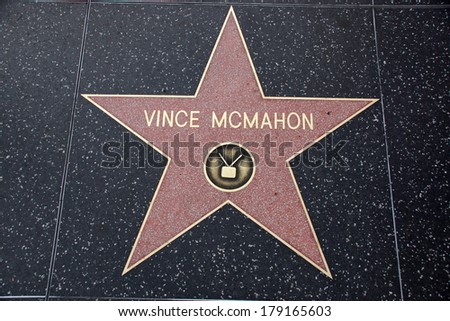 HOLLYWOOD - JANUARY 23: Vince McMahon star on Hollywood Walk of Fame on January 23, 2014 in Hollywood, California. This star is located on Hollywood Blvd. and is one of 2400 celebrity stars. - stock photo