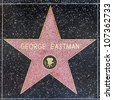 HOLLYWOOD - JUNE 26: George Eastman's star on Hollywood Walk of Fame on June 26, 2012 in Hollywood, California. This star is located on Hollywood Blvd. and is one of 2400 celebrity stars. - stock photo