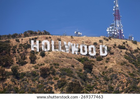 Hollywood - June 2011: Hollywood sign on the hill in California valley, June 4, 2011, Los Angeles, California, USA   - stock photo