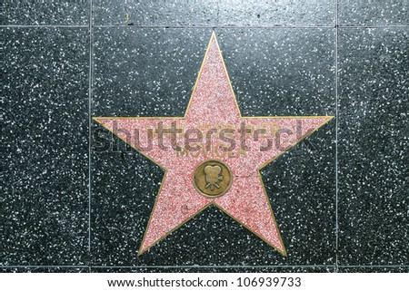 HOLLYWOOD - JUNE 26: Mark Serrurier Moviola's star on Hollywood Walk of Fame on June 26, 2012 in Hollywood, California. This star is located on Hollywood Blvd. and is one of 2400 celebrity stars. - stock photo