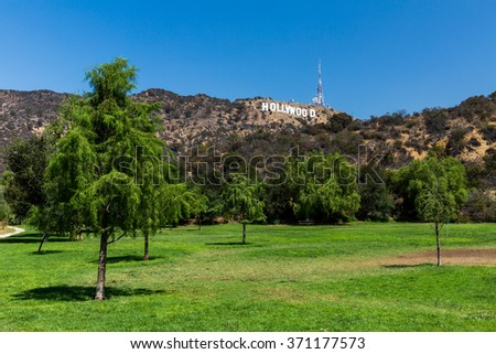 HOLLYWOOD, LOS ANGELES - SEPTEMBER 11: Views of the Lake Hollywood Park and the Hollywood sign in the background on September 11, 2015. The Park is popular by tourist for taking pictures of the sign. - stock photo