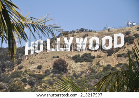 HOLLYWOOD - MAY 10 2012: The world famous landmark Hollywood Sign on May 10, 2012 in Hollywood, California. - stock photo