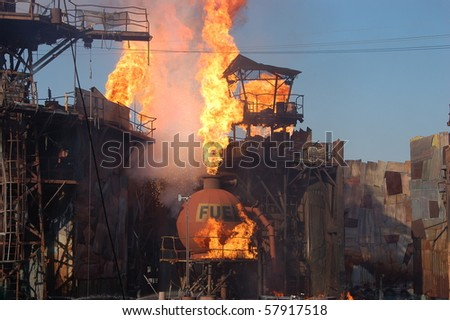 HOLLYWOOD - SEPTEMBER 15: Big explosion at the end of the live stunt show called Waterworld on 15 September in 2008 in the Universal Studios Hollywood. - stock photo