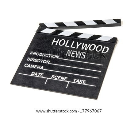 Hollywood show biz news icon symbol film movie clapperboard.   - stock photo
