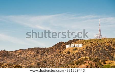 Hollywood sign, at LA, California on February 11, 2016 - stock photo