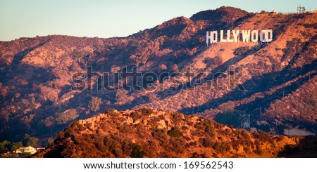 Hollywood Sign from Griffith Observatory at sunrise, Hollywood, Los Angeles, California, USA - stock photo