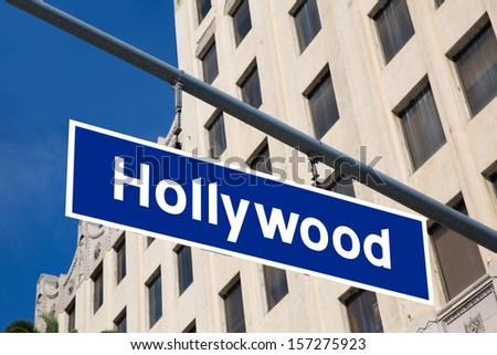Hollywood  sign illustration over LA boulevard California USA - stock photo