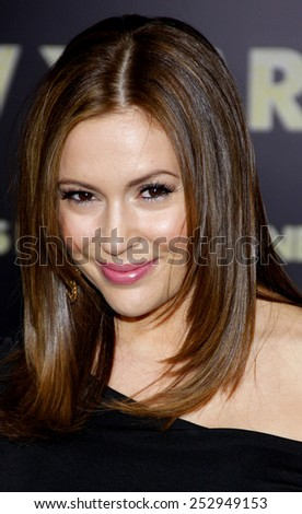 "HOLLYWOOD, USA - DECEMBER 5: Alyssa Milano at the Los Angeles Premiere of ""New Year's Eve"" held at the Grauman's Chinese Theatre in Los Angeles, USA on December 5, 2011. - stock photo"