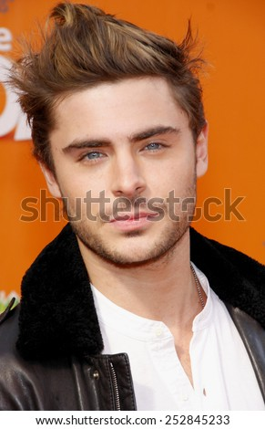 "HOLLYWOOD, USA - FEBRUARY 19: Zac Efron at the Los Angeles Premiere of ""Dr. Suess' The Lorax"" held at the Universal Studios Hollywood in Los Angeles, USA on February 19, 2012. - stock photo"