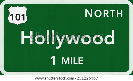 Hollywood USA Highway Sign - stock photo