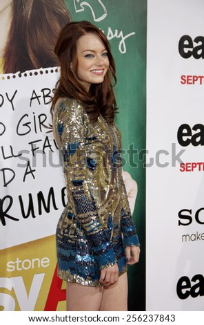 """HOLLYWOOD, USA - SEPTEMBER 13: Emma Stone at the Los Angeles Premiere of """"Easy A"""" held at the Grauman's Chinese Theatre in Los Angeles, USA on September 13, 2010. - stock photo"""