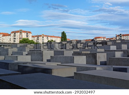 Holocaust Memorial (Monument to the Murdered Jews in Europe) in Berlin, Germany - stock photo