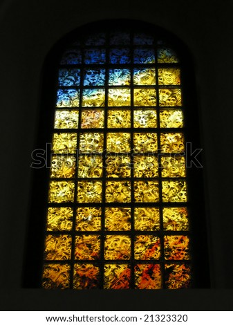 Holocaust stained glass Faces and colors are the imagination of the Jewish victims murdered during the Second World War - stock photo