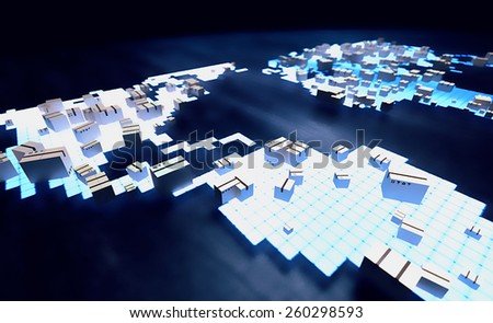 Holograph image of world map with package boxes. Worldwide delivery service concept. - stock photo
