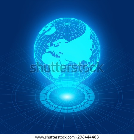 Holographic globe with continents against the dark-blue abstract background with circles and light source - stock photo