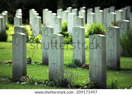 HOLTEN, THE NETHERLANDS, EUROPE - MAY 5th 2014: Gravestones at the Canadian War Cemetary remembering the victims of World War 2 - stock photo