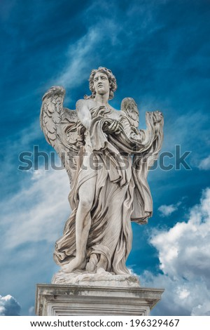 Holy angel at Ponte Sant' Angelo, Rome, Italy, 2014 - stock photo