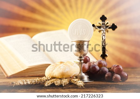 Holy Communion Bread, Wine  - stock photo