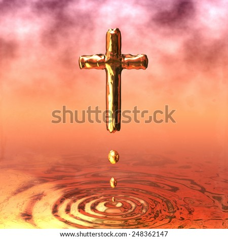 Holy Cross of gold, golden water ripple of Holy Water - stock photo