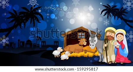 Holy Family in Bethlehem on the night with hut donkey and ox - stock photo