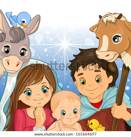Holy Family in the foreground with ox and donkey - stock photo