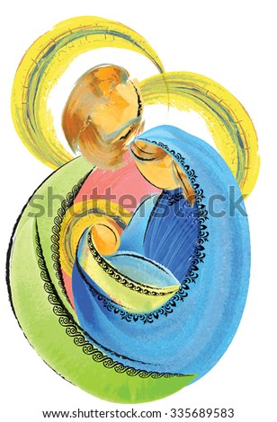 Holy Family Jesus Mary and Joseph simple abstract nativity Christmas watercolor tempera illustration - stock photo