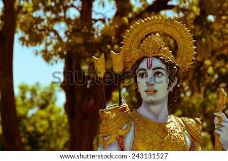 Holy Indian God Shri Ram Statue - stock photo