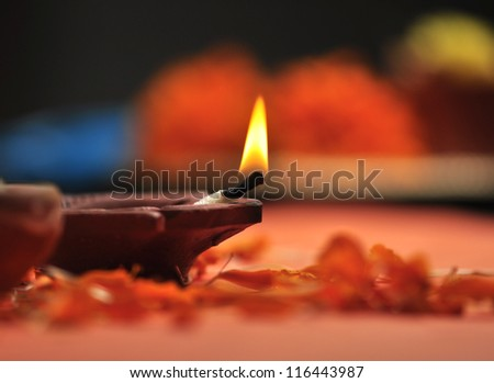 holy lamp for Diwali festival - stock photo