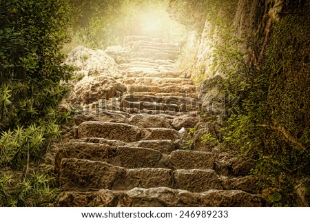 Holy Light and Upstairs - stock photo