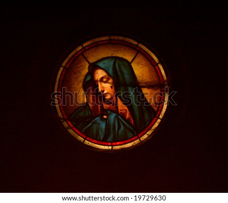 Holy Mary - stained glass - stock photo